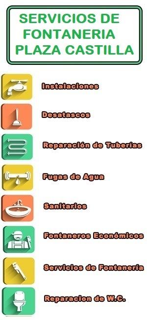 servicios de fontaneria en Plaza Castilla